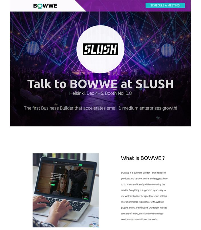 Landing page created with BOWWE website builder for SLUSH event