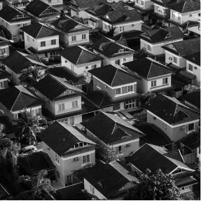 Black and white housing estate from a birds eye view